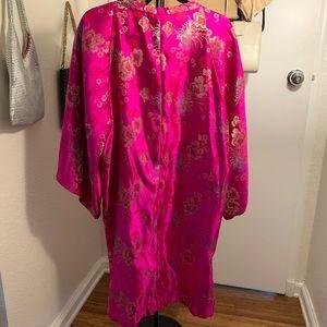Jackets & Coats - Vintage HOT PINK satin kimono